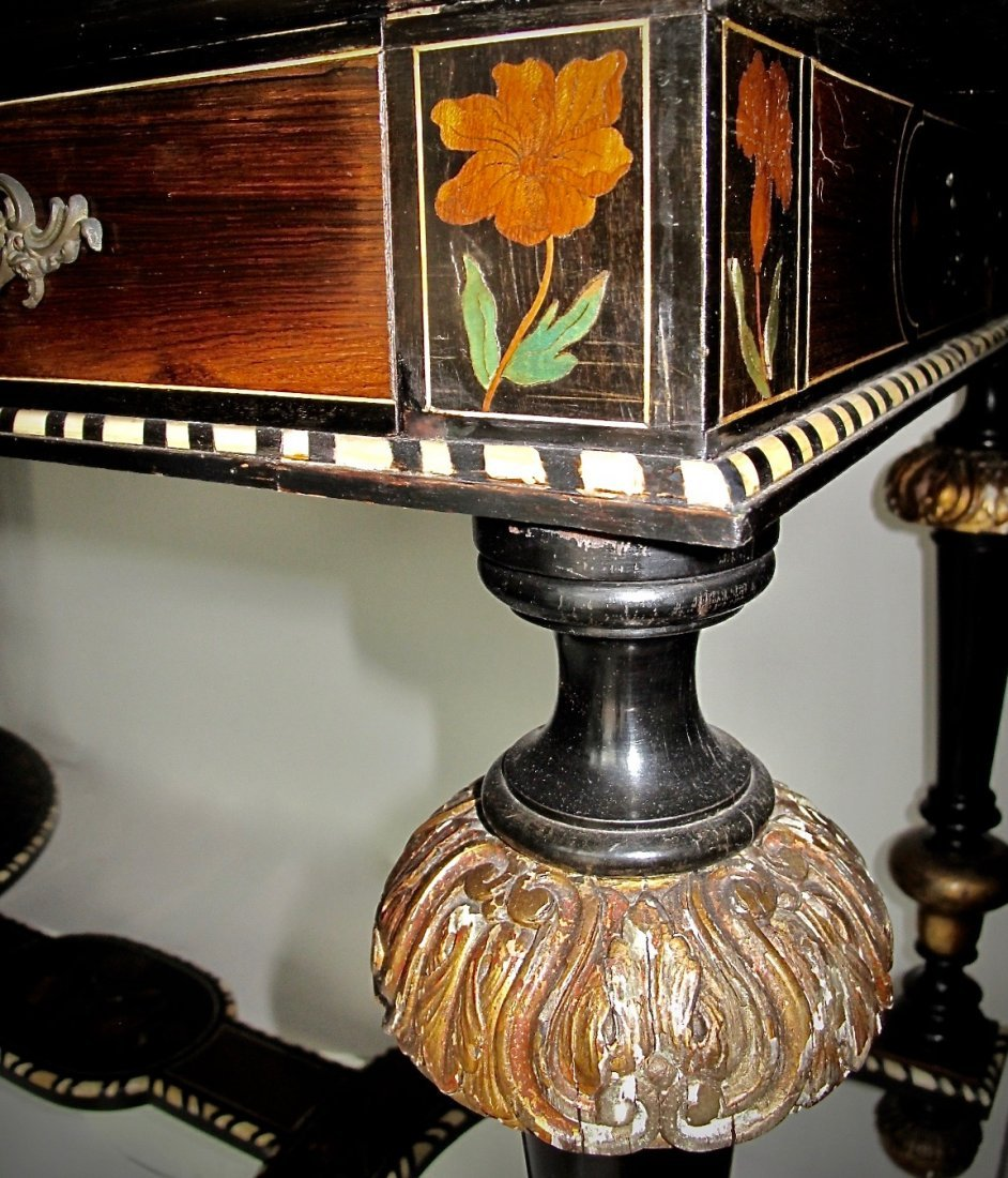 Louis XIV Style Gilt-Bronze Mounted & Inlaid  Table - 3