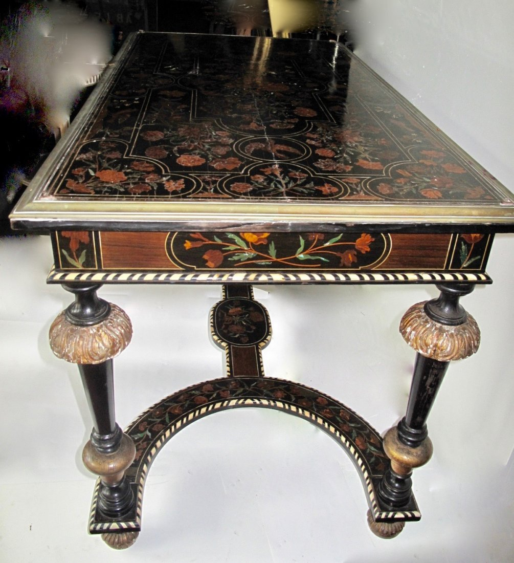 Louis XIV Style Gilt-Bronze Mounted & Inlaid  Table - 4