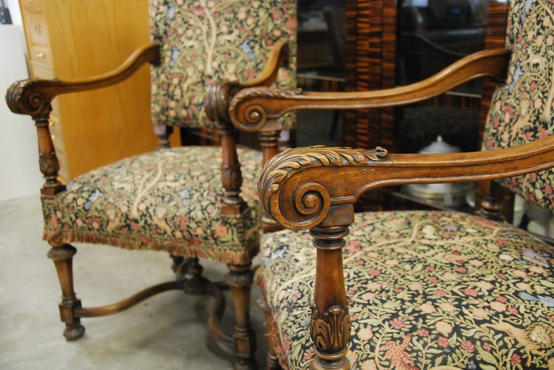 PAIR FRENCH BAROQUE STYLE WALNUT FAUTIUELS - 3