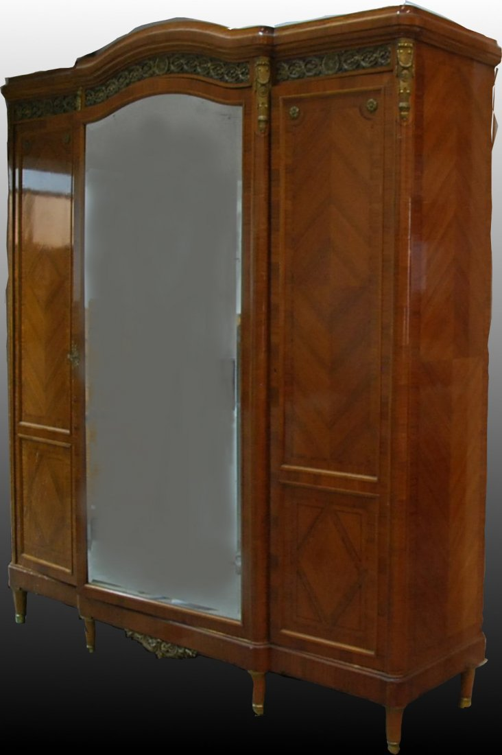 ANTOINE KRIEGER, FRENCH TULIPWOOD CABINET ARMOIRE