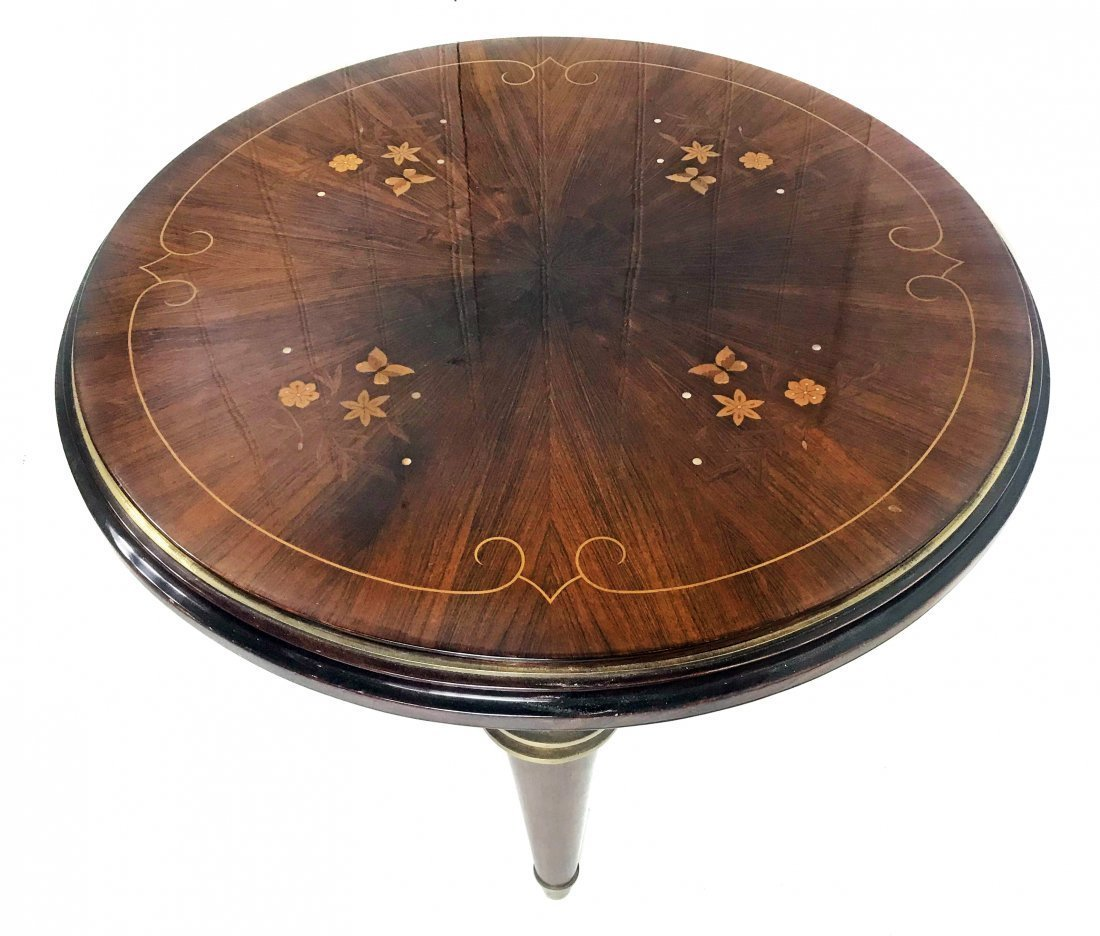 INLAID ROSEWOOD CENTER TABLE, STYLE OF JULES LELEU