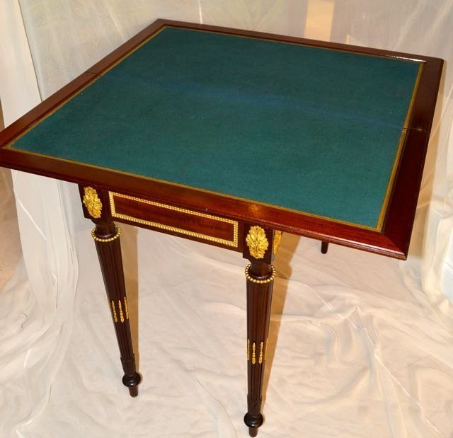 LOUIS XVI STYLE BRONZE MOUNTED MAHOGHANY GAME TABLE - 2