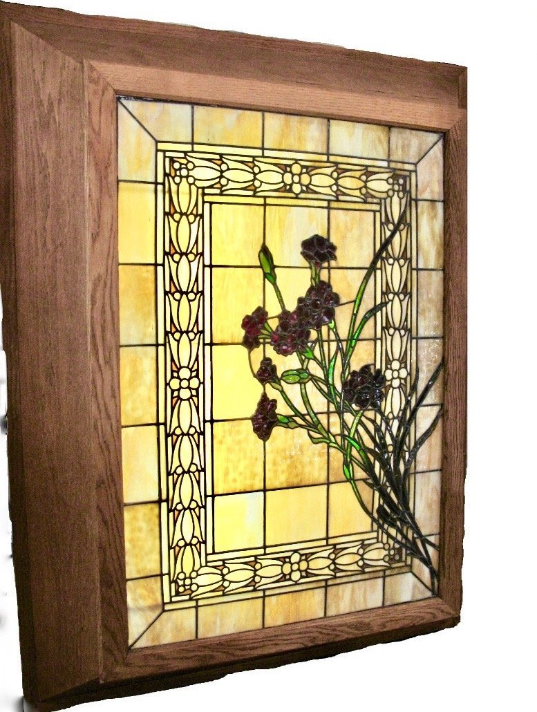 AMERICAN LEADED AND STAINED GLASS WINDOW BOX