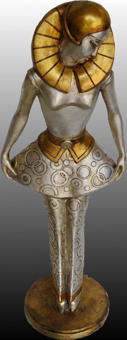 Art Deco style silvered  stylised figure of a lady