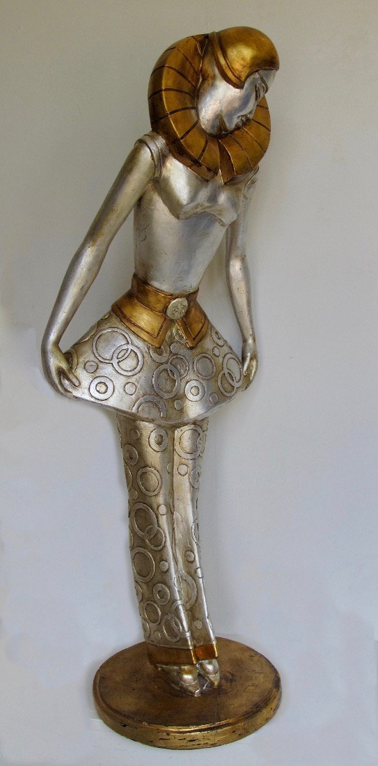 Art Deco style silvered  stylised figure of a lady - 2