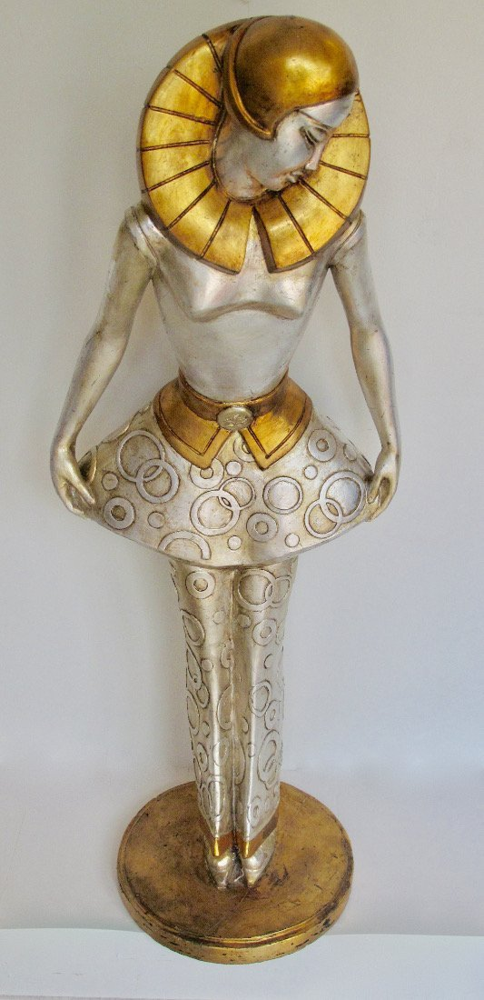 Art Deco style silvered  stylised figure of a lady - 7