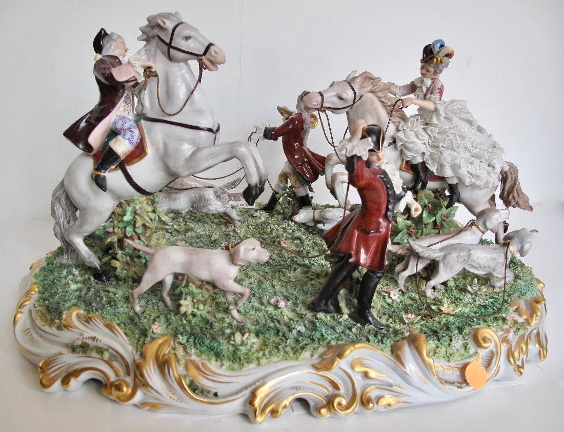 Capodimonte Porcelain Equestrian Group - 2