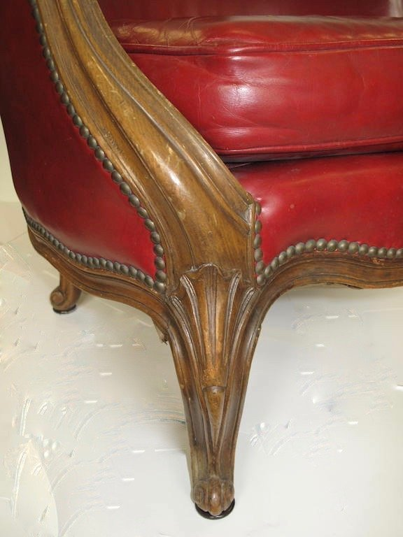 ASSEMBLED PAIR LEATHER UPHOLSTERED WALNUT LOW BERGERES - 10