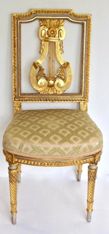 LOUIS XVI STYLE GILT AND PAINTED SIDE CHAIR