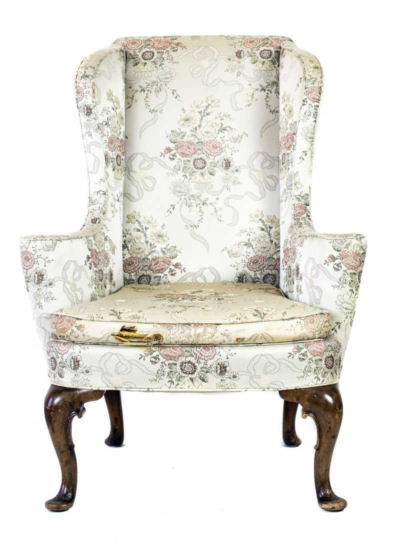 QUEEN ANNE STYLE WALNUT WING CHAIR - 2