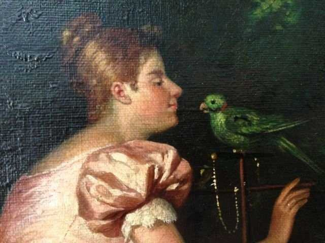 EUROPEAN SCHOOL, 19th Cent., Woman and Caged Bird - 2