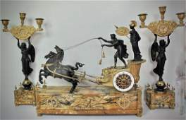EMPIRE STYLE MARBLE PATINATED  GILT BRONZE CLOCK SET