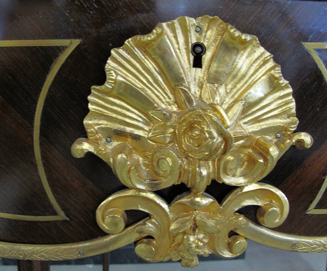 LOUIS XV STYLE INLAID AND GILT-BRONZE WRITING TABLE - 6