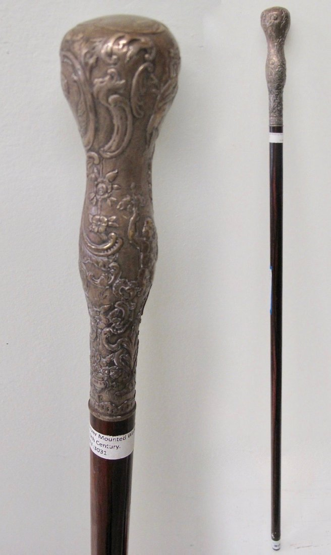 Silver Mounted Walking Stick 19th Century