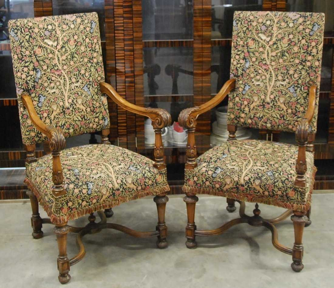 PAIR FRENCH BAROQUE STYLE WALNUT FAUTIUELS