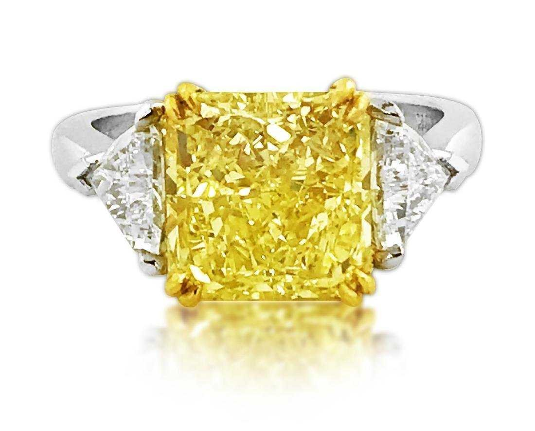 GIA CERTIFIED FANCY INTENSE YELLOW 5.51 CARAT RING