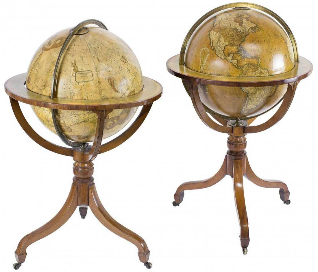 Magnificent and Large Pair of George III Library Globes