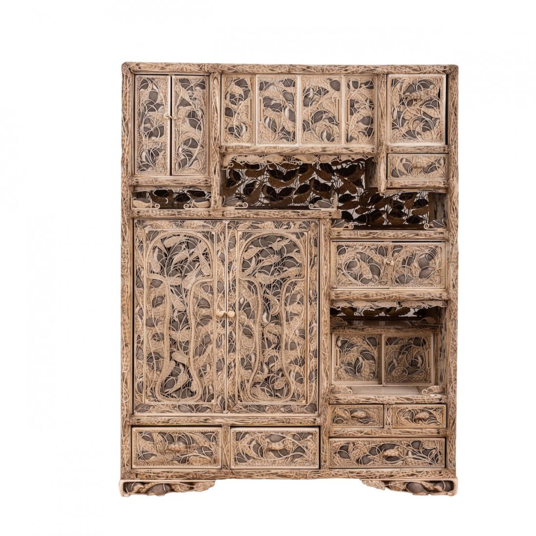 "The Highly Important ""Edoris"" Carved Qual Cabinet"