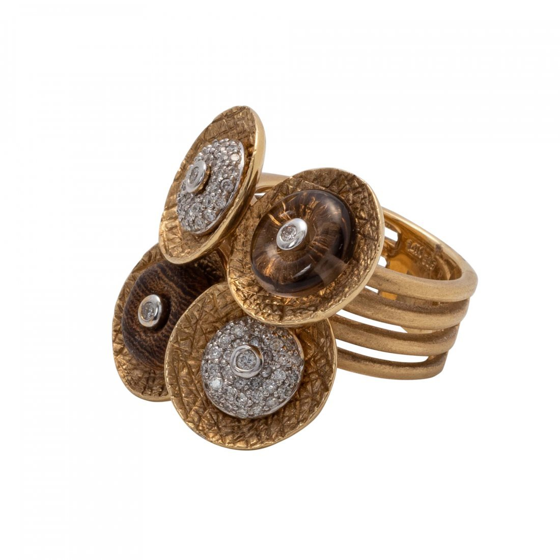 Gold, Crystal and Diamond Ring - 2