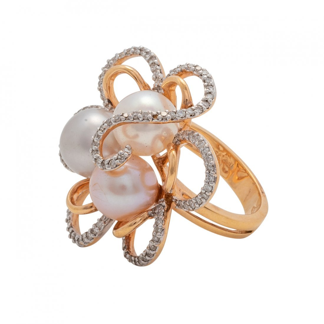 Cultured Pearl and Diamond Ring - 2