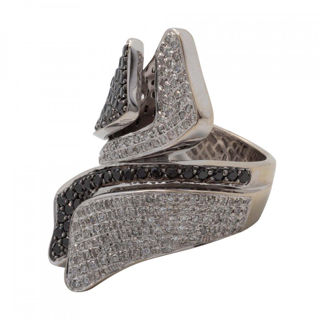 Gold, Black Diamond and Diamond Ring