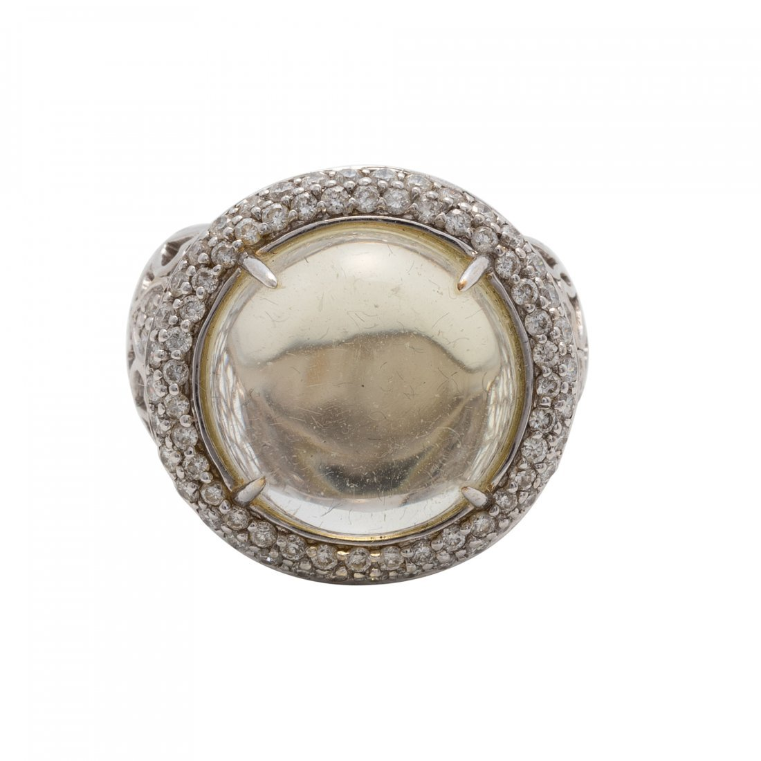 Gold, Green Amethyst and Diamond Ring