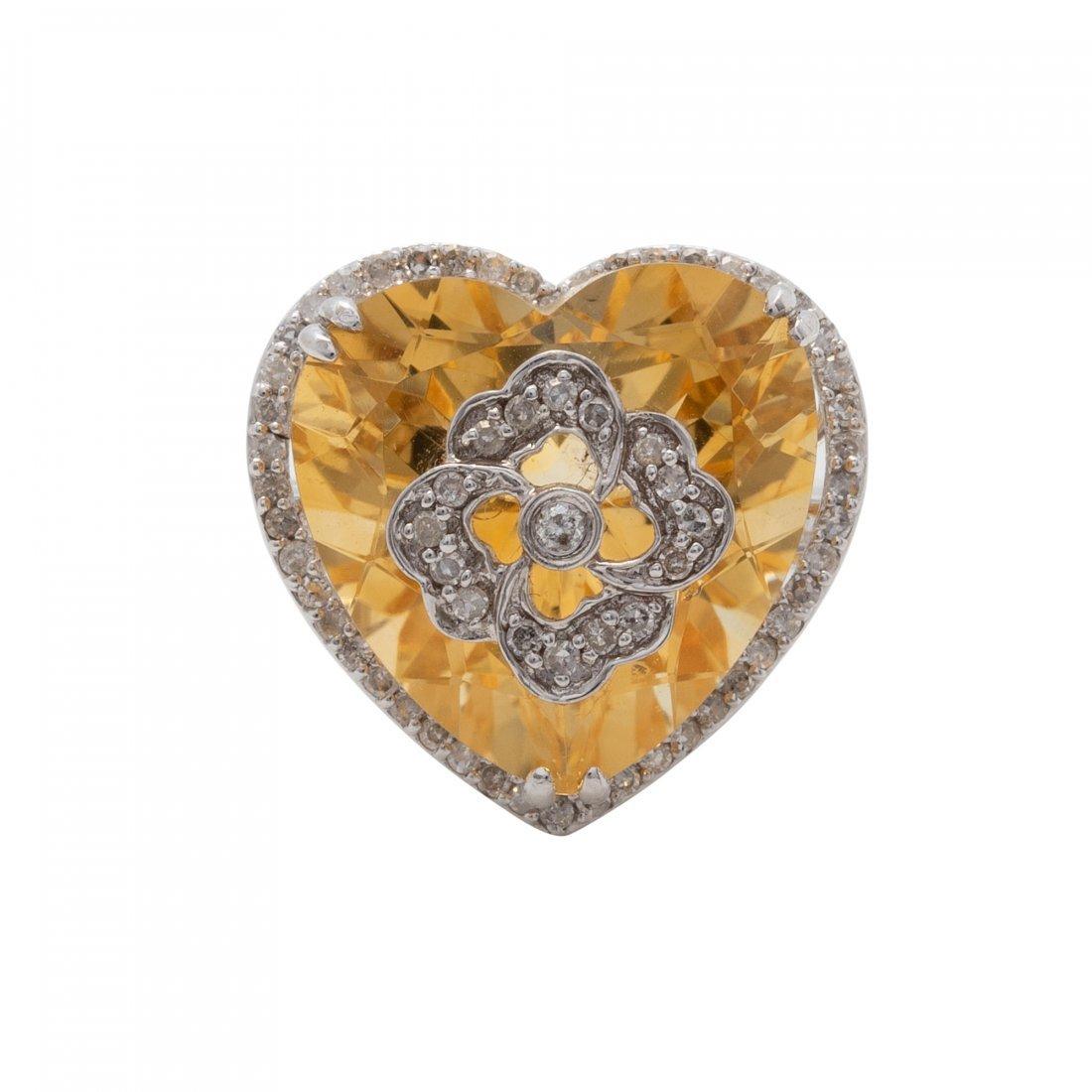 Interesting Citrine and Diamond Ring