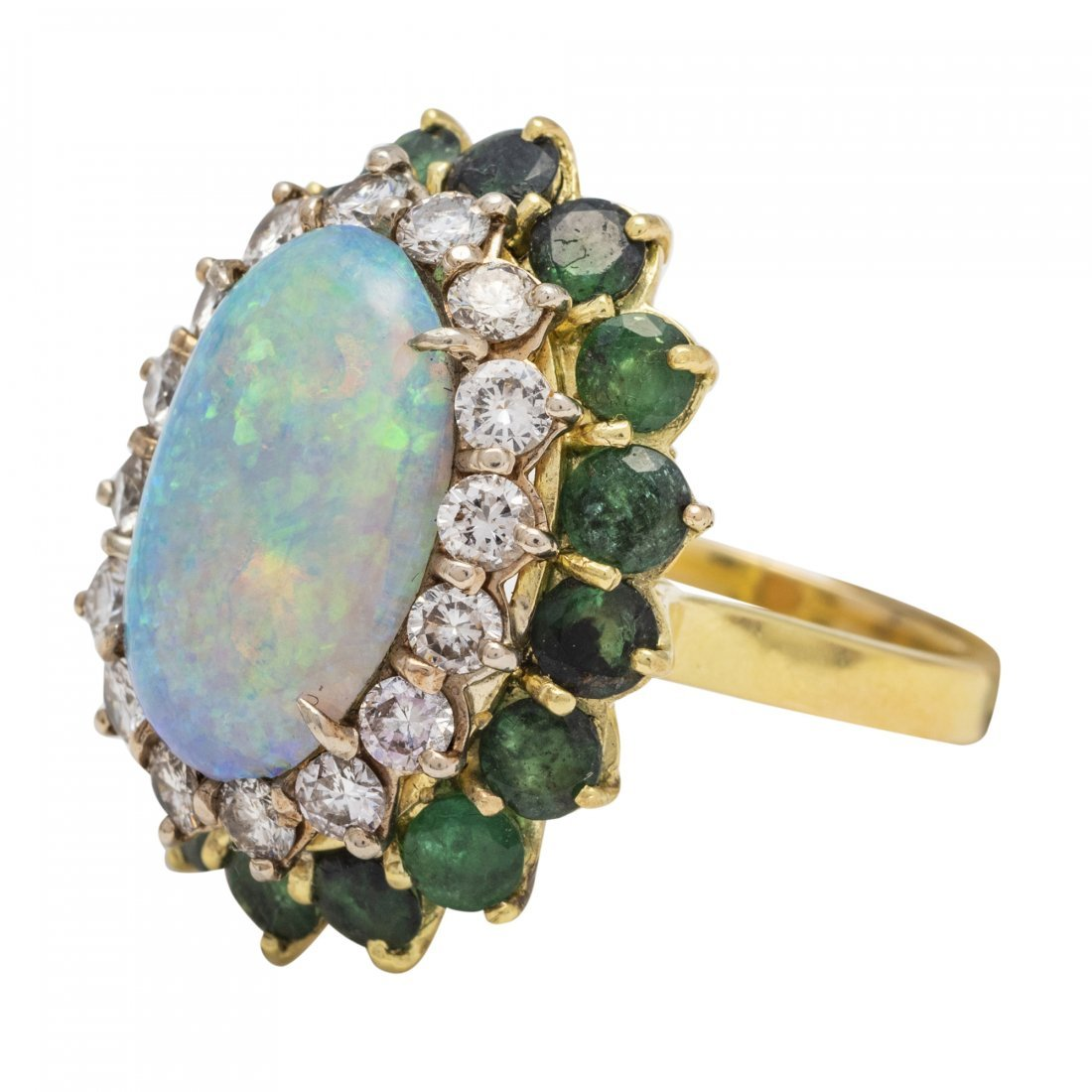 Opal, Emerald and Diamond Ring - 2