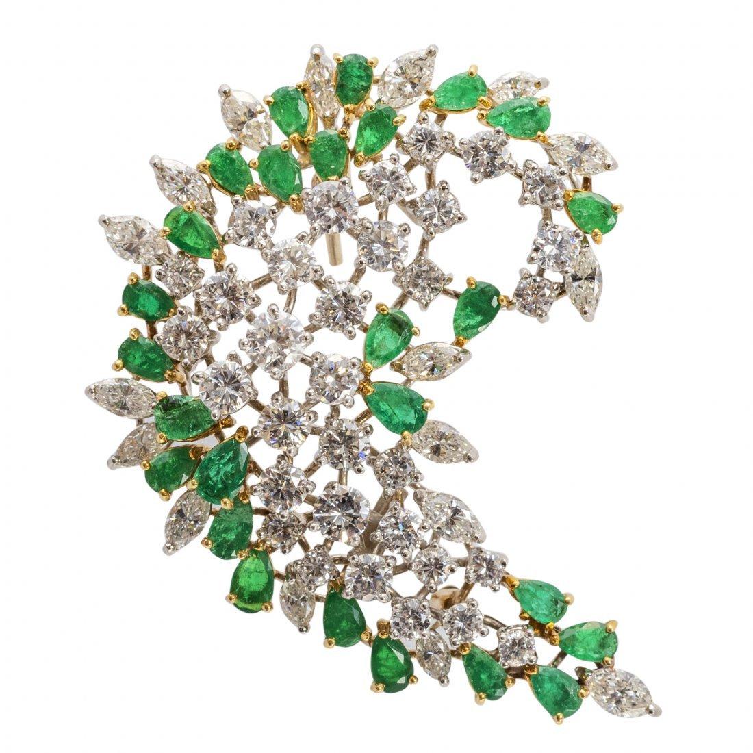 Fine Emerald and Diamond Brooch