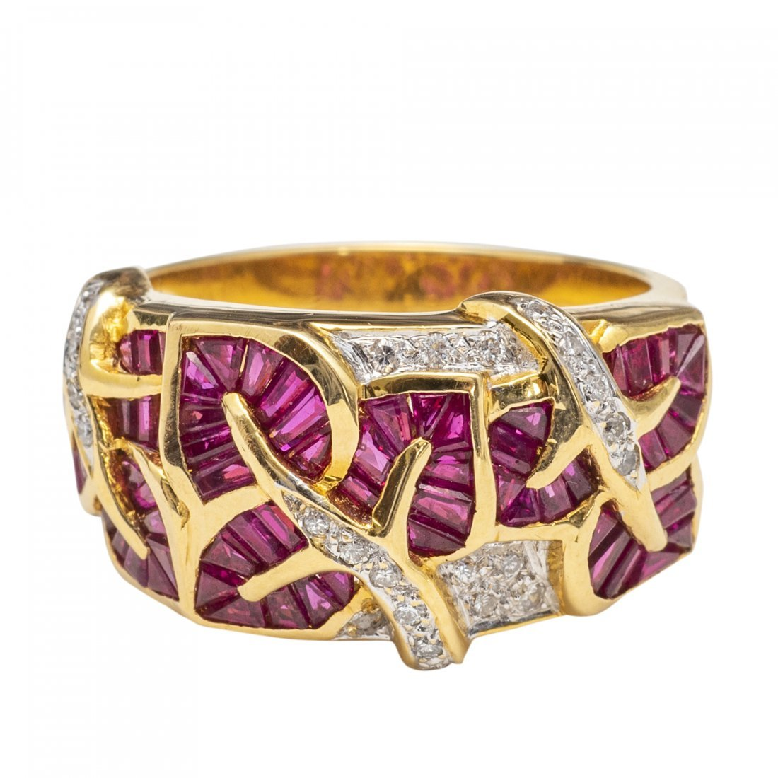 18kt Gold, Ruby and Diamond Ring