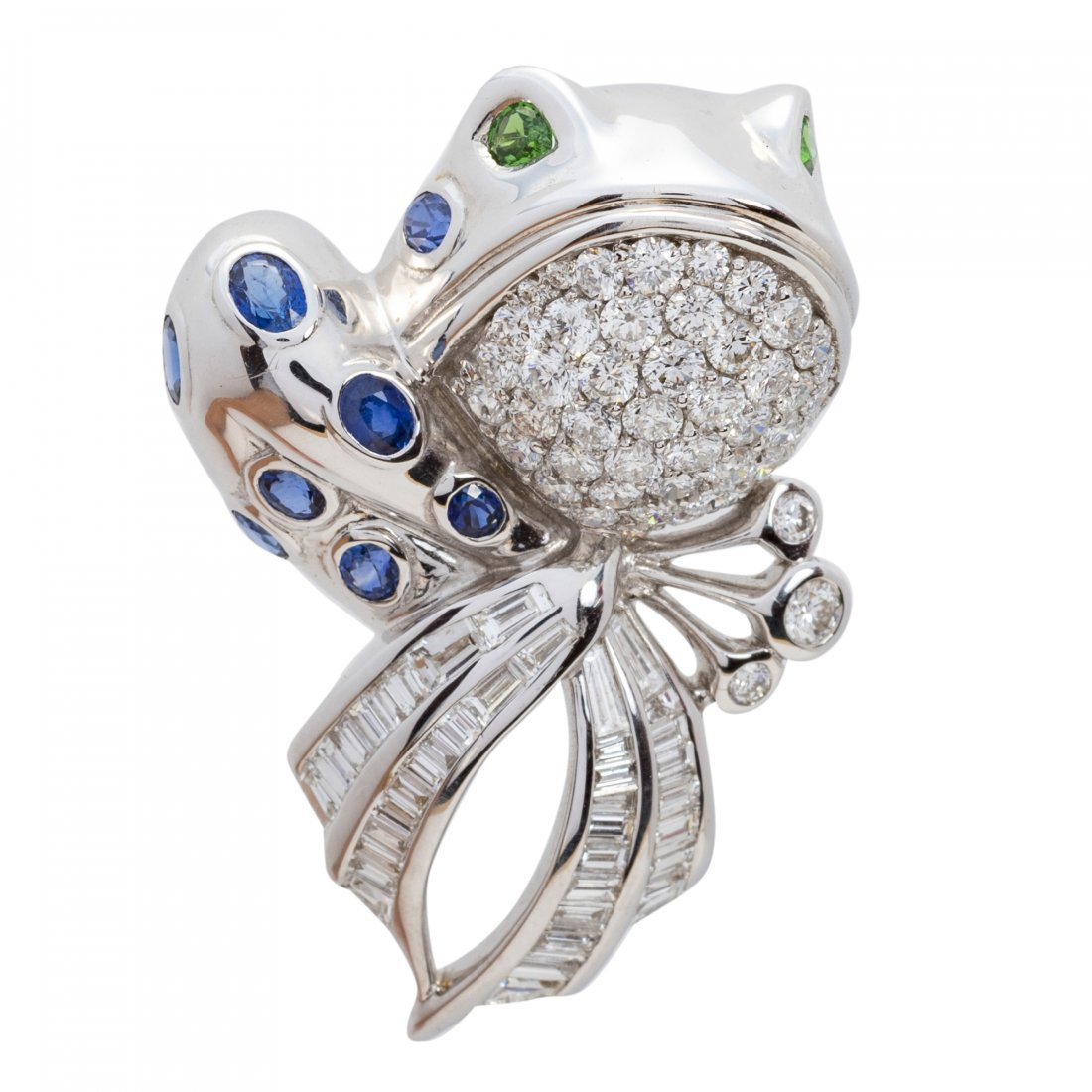 "Fine Sapphire and Diamond ""Frog"" Brooch"