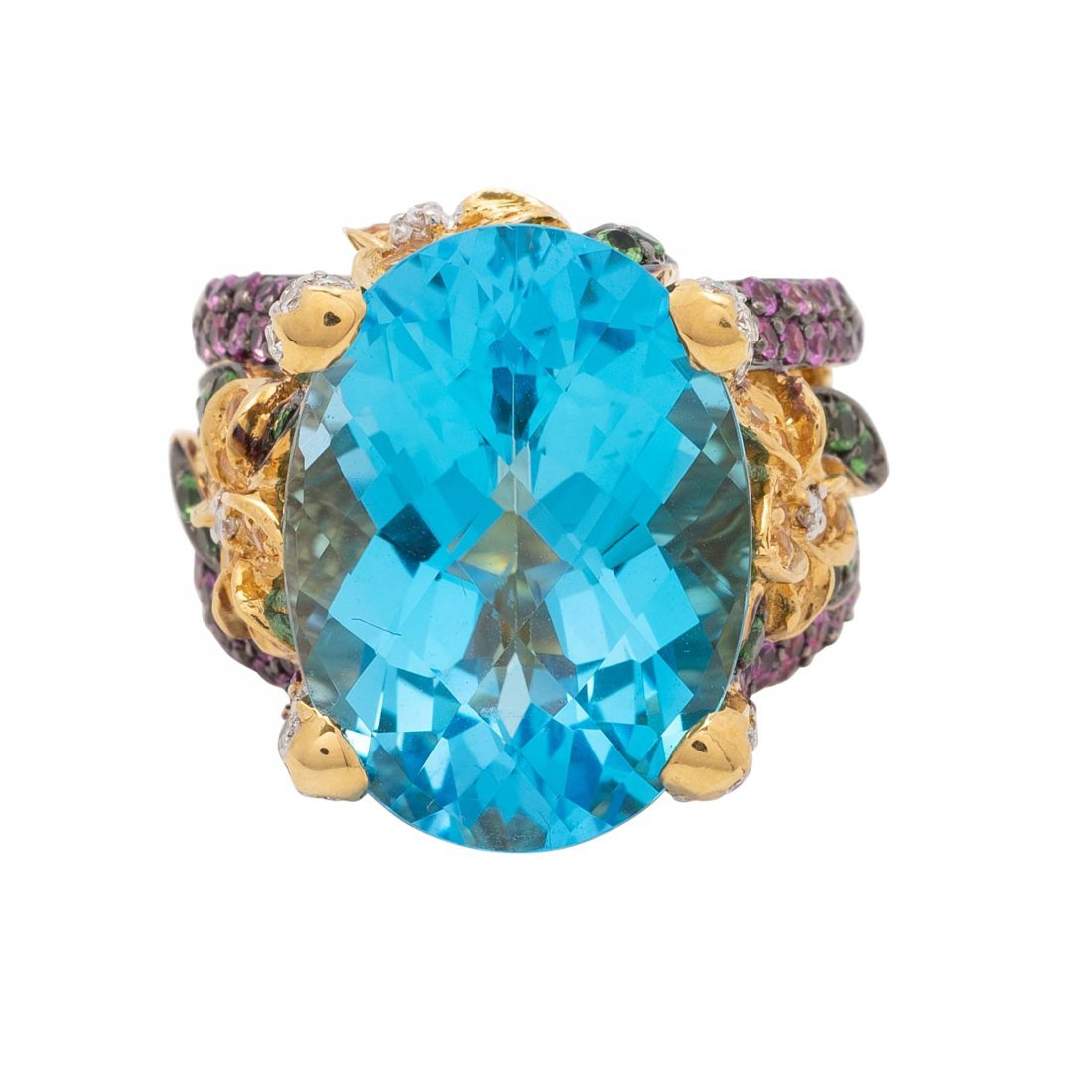 Gold, Blue Topaz and Diamond Ring