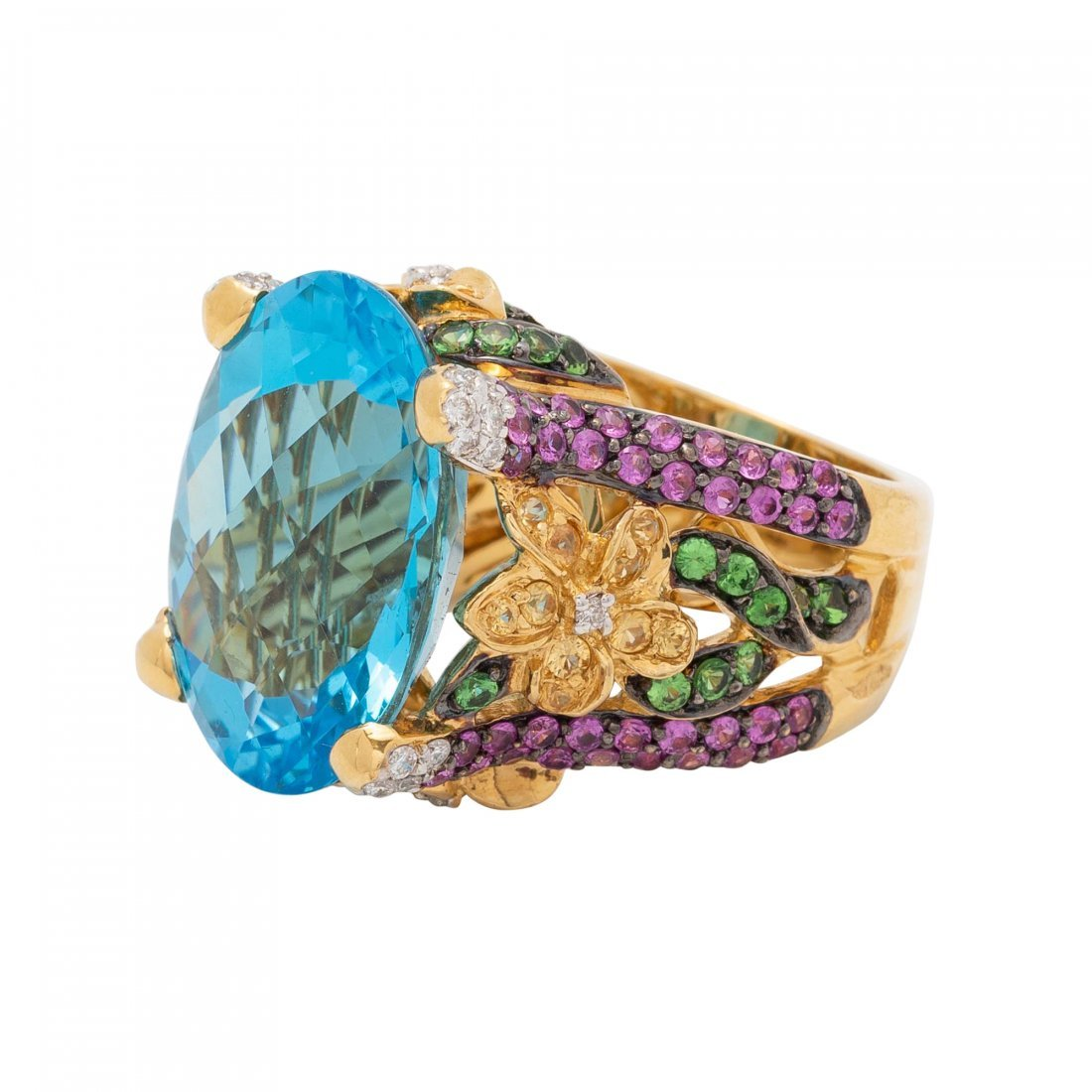 Gold, Blue Topaz and Diamond Ring - 2