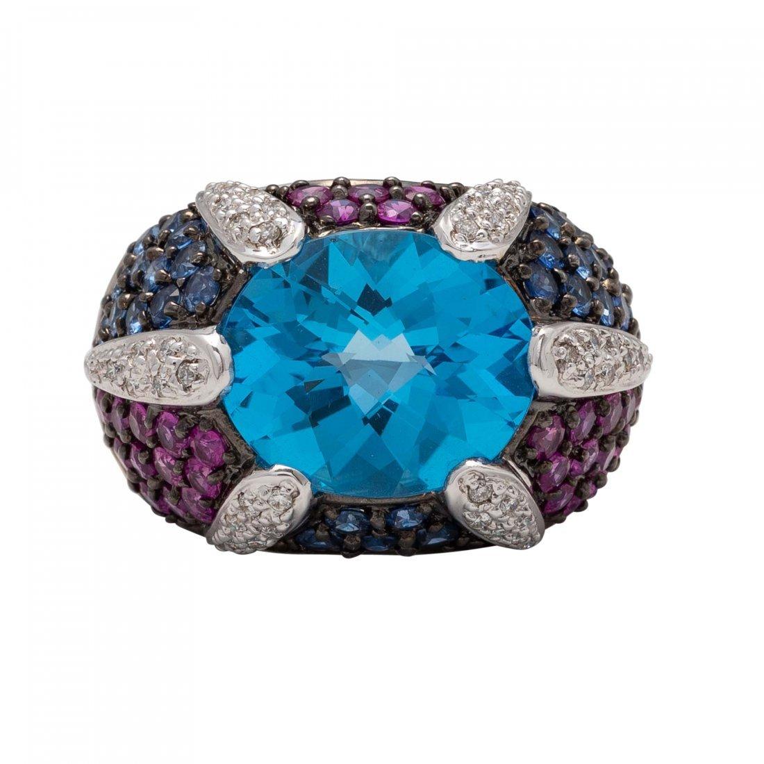 Blue Topaz, Ruby and Diamond Ring
