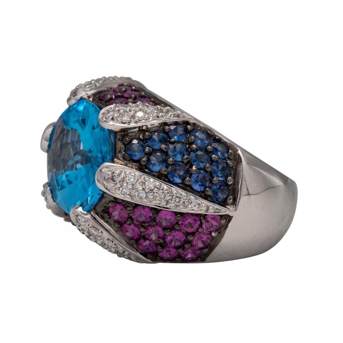 Blue Topaz, Ruby and Diamond Ring - 2
