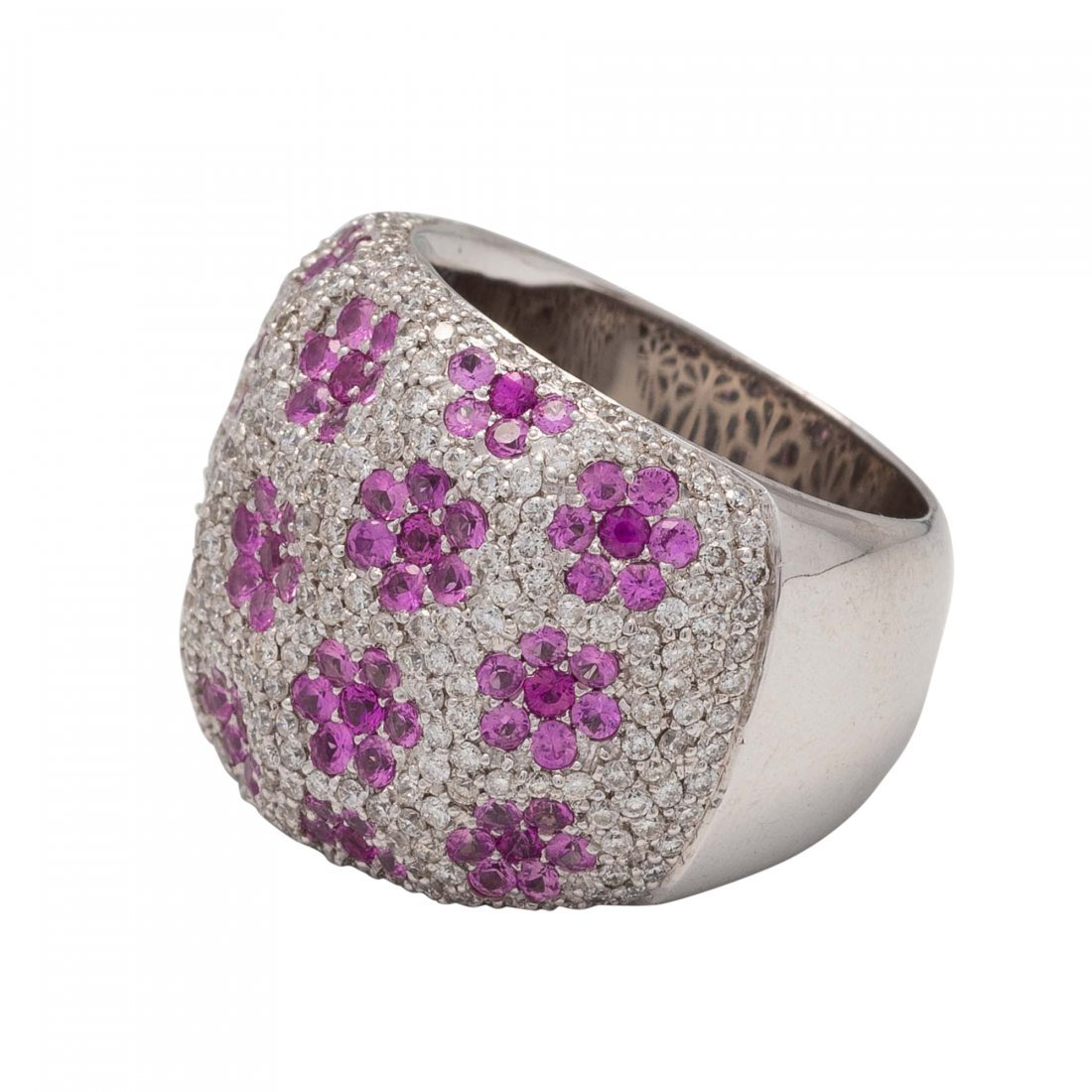 Gold, Pink Sapphire and Diamond Ring