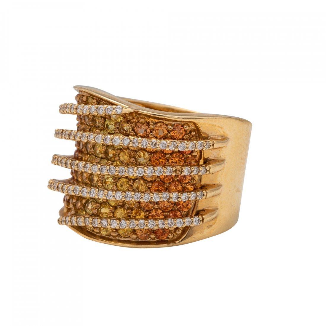 Gold, Yellow Sapphire and Diamond Ring - 2
