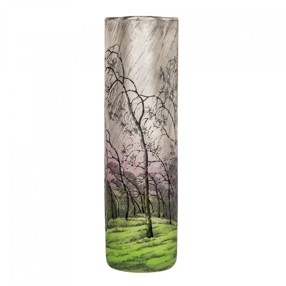A Spectacular Daum Nancy Cameo and Enamel Glass Vase