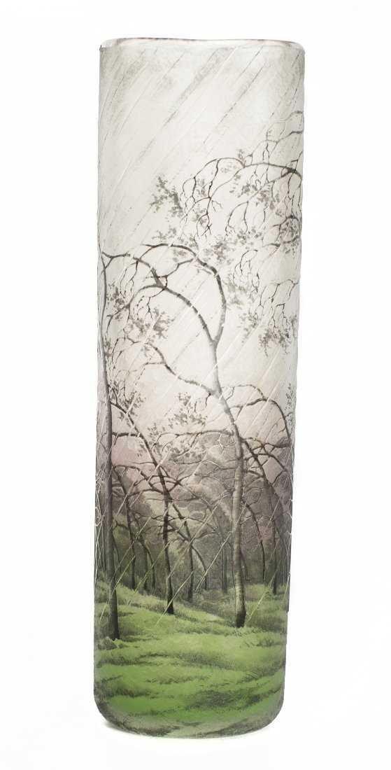 A Spectacular Daum Nancy Cameo and Enamel Glass Vase - 3