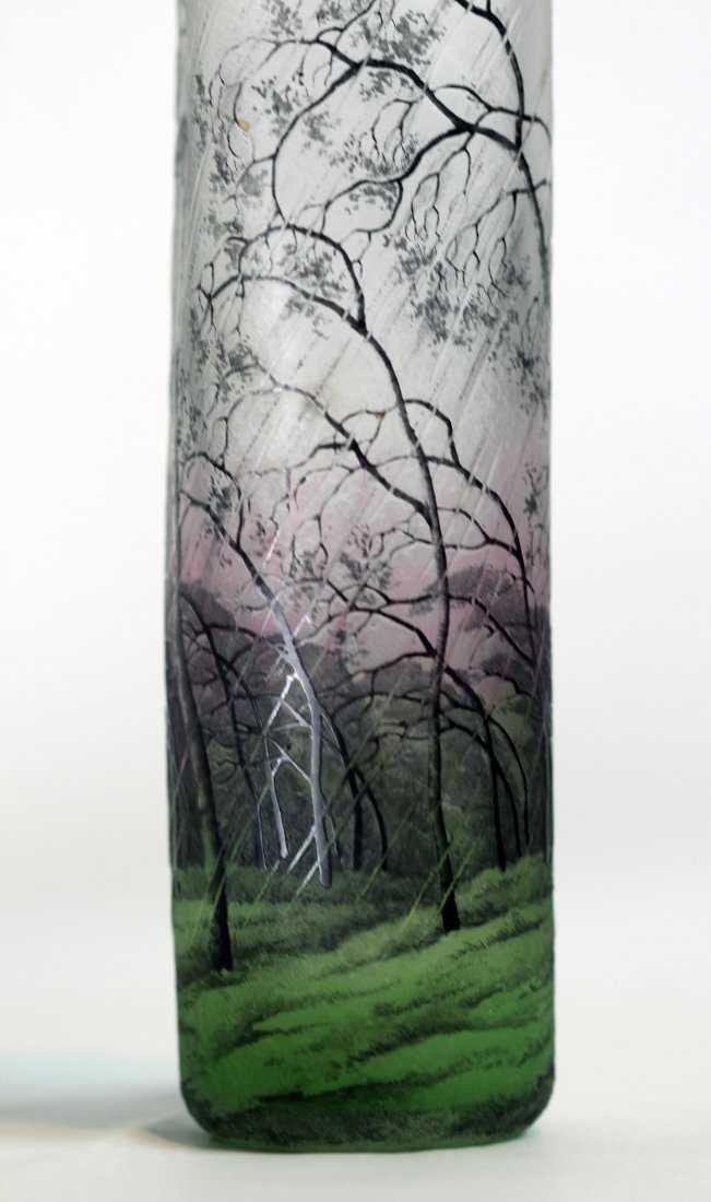 A Spectacular Daum Nancy Cameo and Enamel Glass Vase - 5