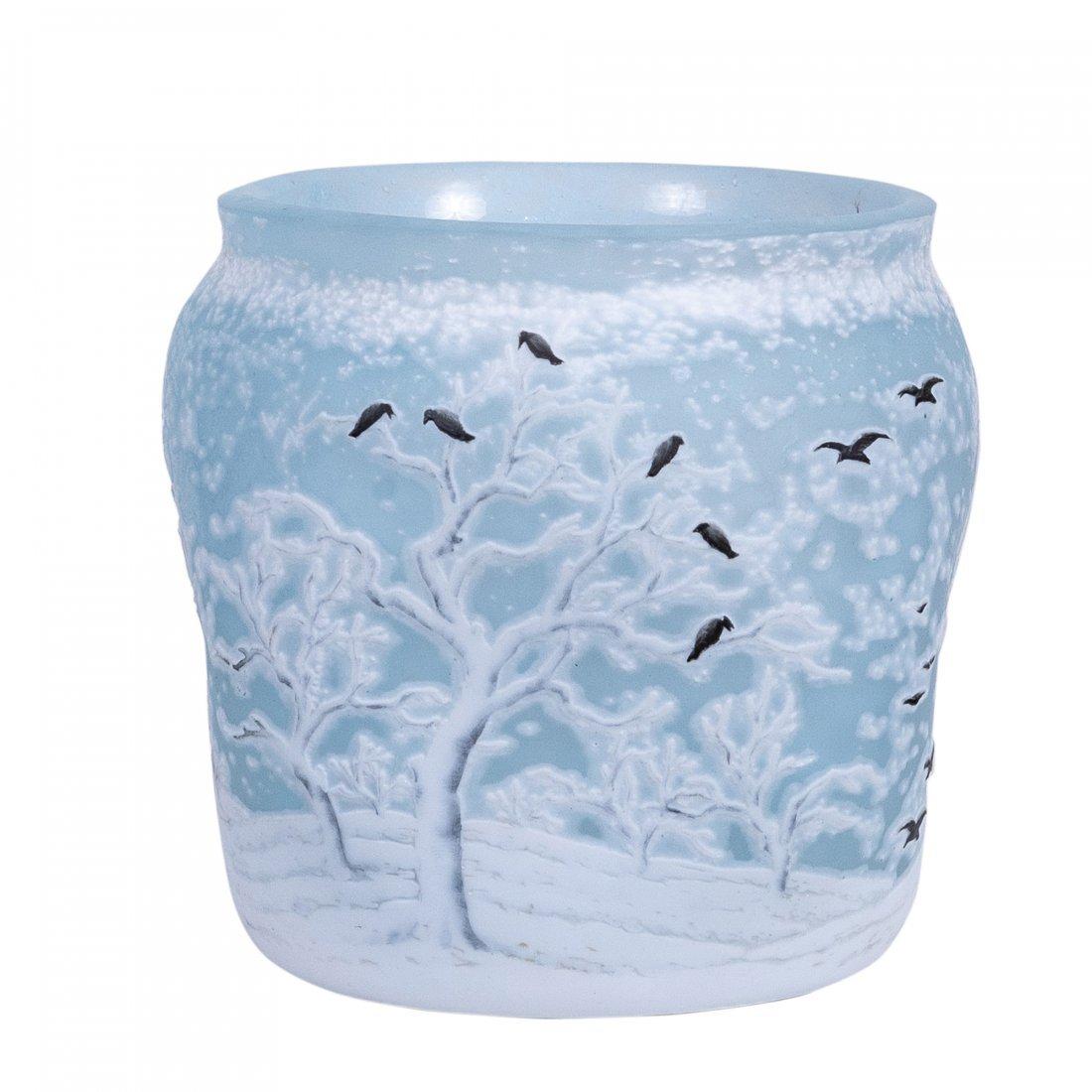 Rare and Fine Daum Nancy Cameo and Enamel Glass Vase