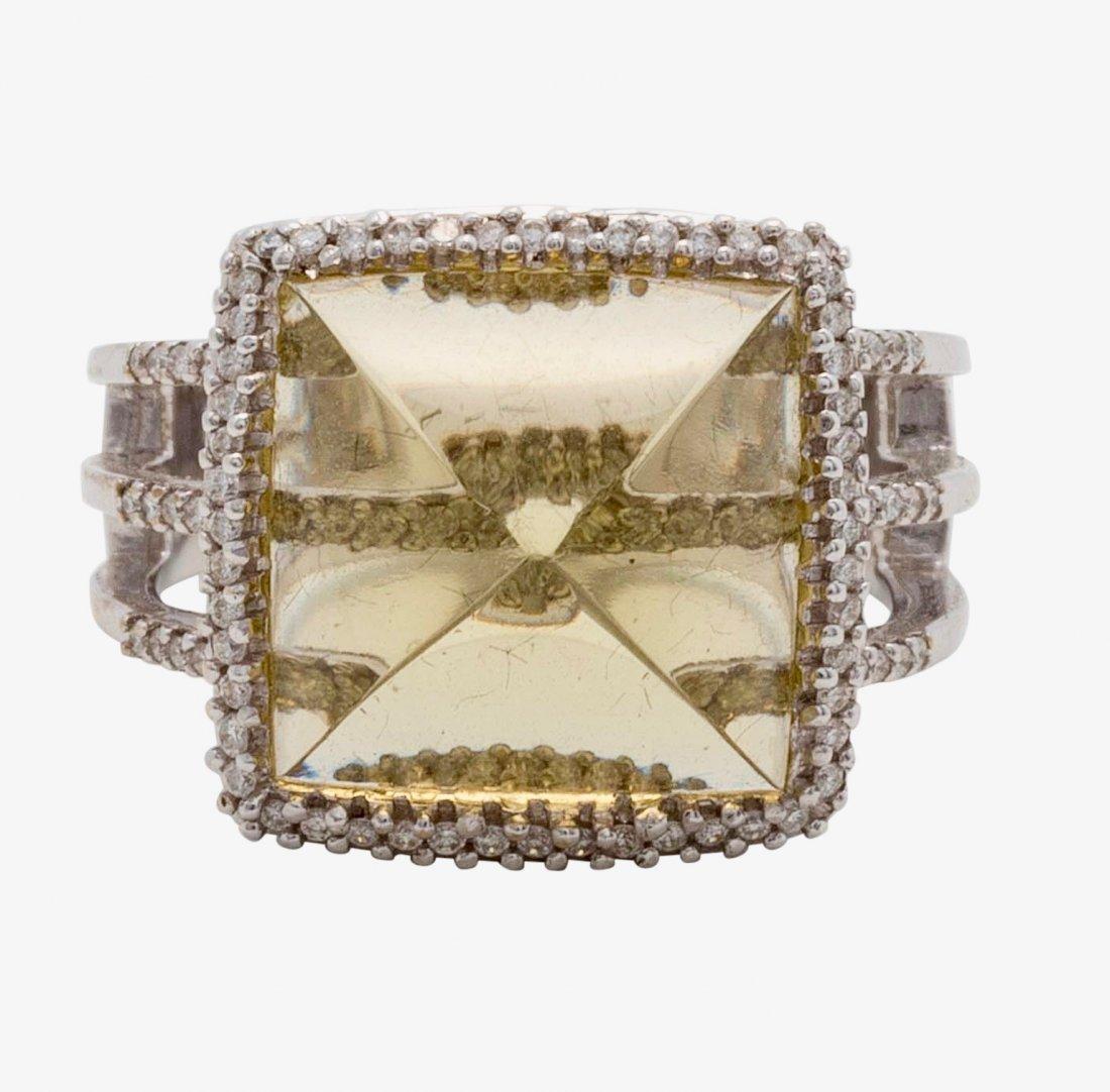 Gold, Lemon Quartz and Diamond Ring