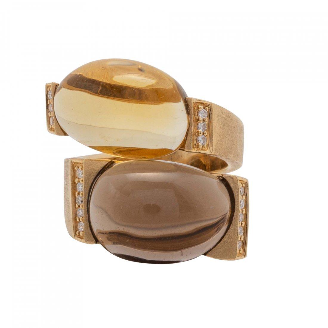Smoky Quartz and Diamond Gold Ring