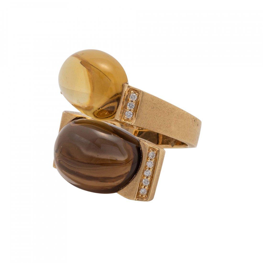 Smoky Quartz and Diamond Gold Ring - 2
