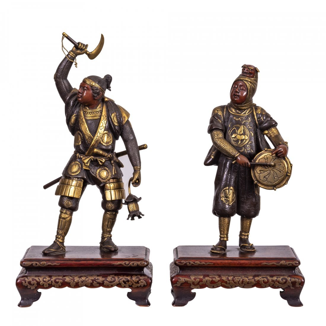 A Very Fine Pair of Inlaid Bronze Figures by Miyao