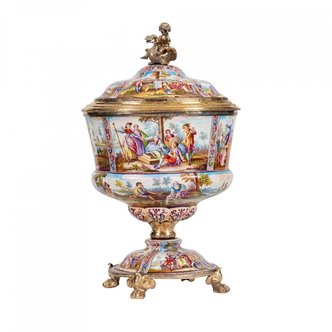 A Viennese Silver-Gilt-Mounted Enameled Cup and Cover