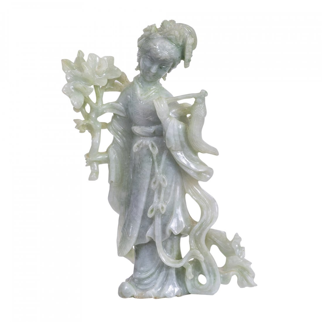 A Chinese Carved Jadeite Figure of Quanyin