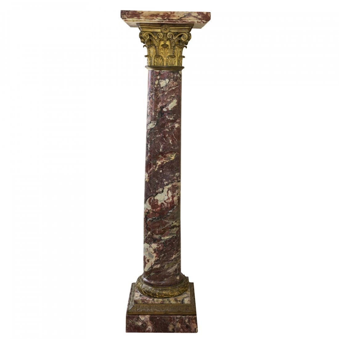 A Large and Fine Gilt Bronze Mounted Marble Pedestal