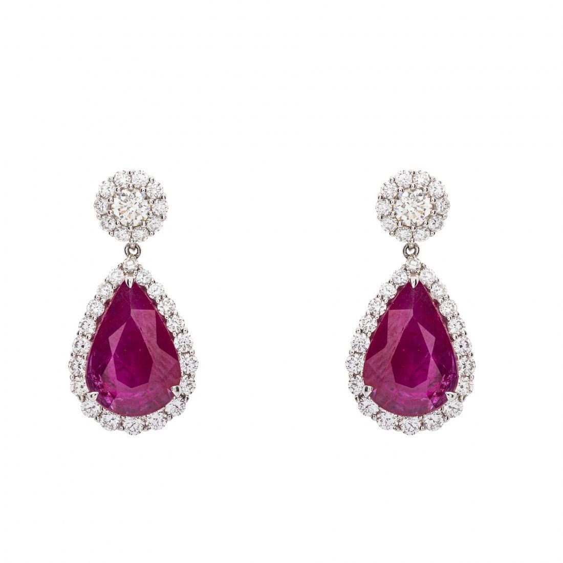 Important Pair of Ruby and Diamond Pendant Earrings