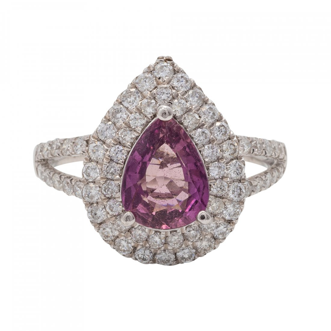 Fine Natural Pink Sapphire and Diamond Ring